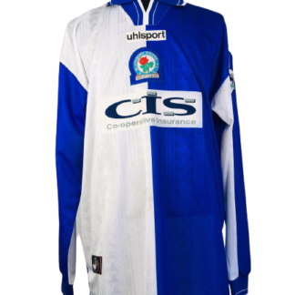 BLACKBURN ROVERS 1998/1999 HOME SHIRT #18 MARCOLIN [MATCH ISSUE] [L/S]