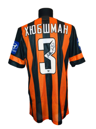 SHAKHTAR 2013/2014 HOME SHIRT #3 HUBSCHMAN [MATCH WORN]